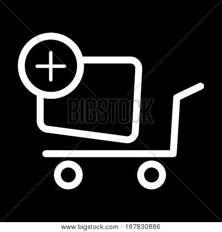 Shopping cart vector icon. Black and white Add product to cart illustration. Outline linear icon. eps 10