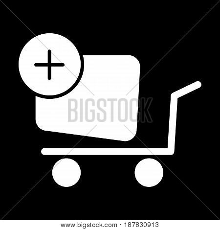 Shopping cart vector icon. Black and white Add product to cart illustration. Solid linear icon. eps 10