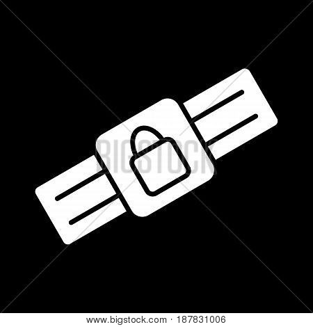 Safety belt icon. Outline Black pictogram on black background. Vector illustration symbol and bonus button closed lock. eps 10