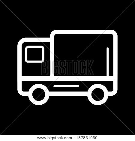delivery truck vector icon. Black and white track illustration. Contour linear icon. eps 10