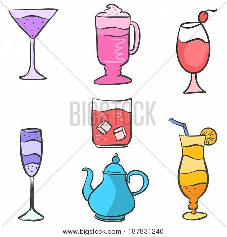 Collection stock drink set various vector illustration