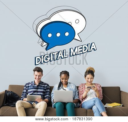 People Chat Bubble Message Social Media Graphic