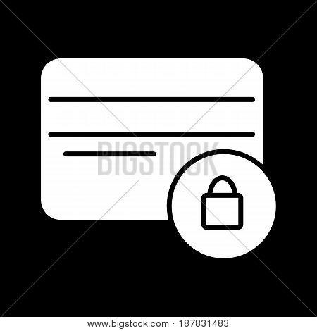 Credit card with lock vector icon. Black and white credit card secure illustration. Solid linear icon. eps 10