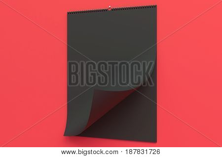 Black Wall Calendar Mock-up On Red Background