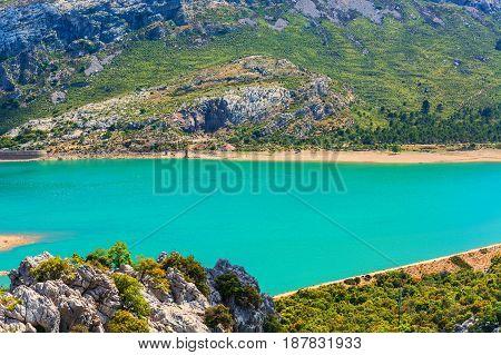 Fantastic views of the Embalse de Cuber in the Sierra de Tramuntana Mallorca Spain