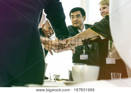Business people hands stack for support and teamwork