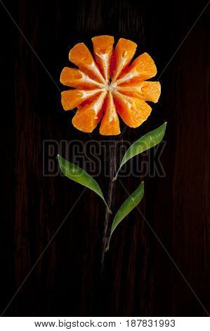 Image of orange cut and shaped as flower with leaves on dark background