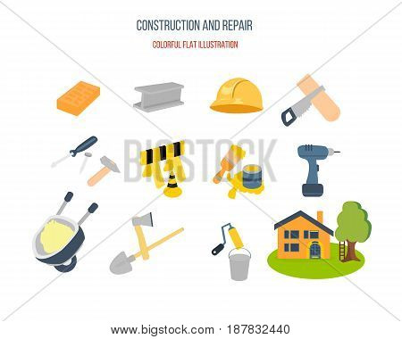 Construction tools and repair set of colored icons. Modern vector illustration isolated on white background.