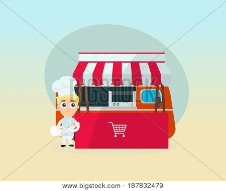 Young chef near the counter and a van with food prepares food and attracts the audience. Modern vector illustration isolated.