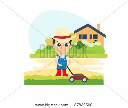 Young farmer is cutting a lawn at his dacha against the backdrop of the cottage and the garden around it. Modern vector illustration isolated on white background.