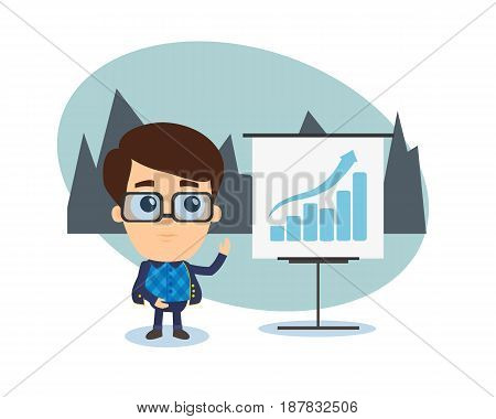 Young man in a suit conducts business trainings and training partners colleagues in the form of graphs analysis and statistics. Modern vector illustration isolated on white background.