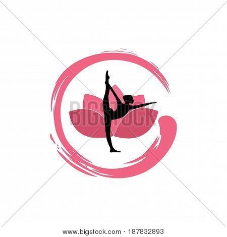 Yoga Woman Silhouette, Lotus Flower with Zen Logo Design Template