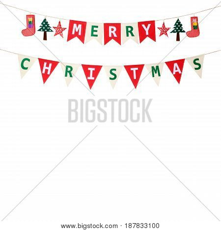 Merry Christmas bunting flag isolated on white background
