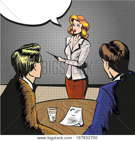 Vector illustration of young woman with pointer giving presentation, speech bubble. Business workshop, training, conference, lecture concept in retro pop art comic style.