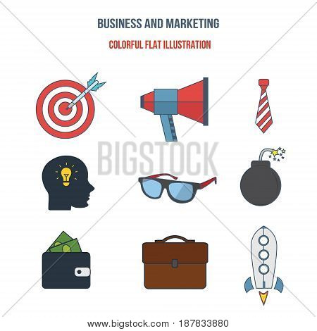 Business marketing planning motivation commitment creative approach financial profits analysis statistics. Colorful flat illustration. Illustration isolated on a white background separately.