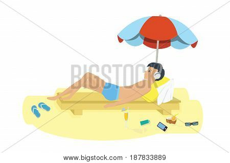 Trip to sea. Young man resting on the beach near the water on the sunbed sunning under an umbrella listening to music. Vector illustration isolated on white background.