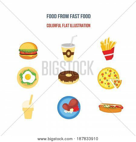Eathing from fast food concept. Colorful flat illustration isolated on a white background separately.