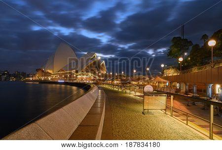 SYDNEY AUSTRALIA - May 23 2017 : Sunrise at Sydney Opera House Sydney Australia Over 10 millions tourists visit Sydney every year.