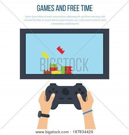 Games and free time concept. Leisure and recreation in their free time and everyday life a gaming console Internet and modern technologies. Vector illustration isolated on white background.