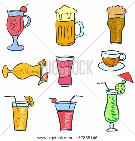 Vector art drink set doodles collection stock