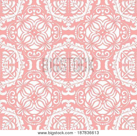 Classic seamless vector pink and white pattern. Traditional orient ornament. Classic vintage background