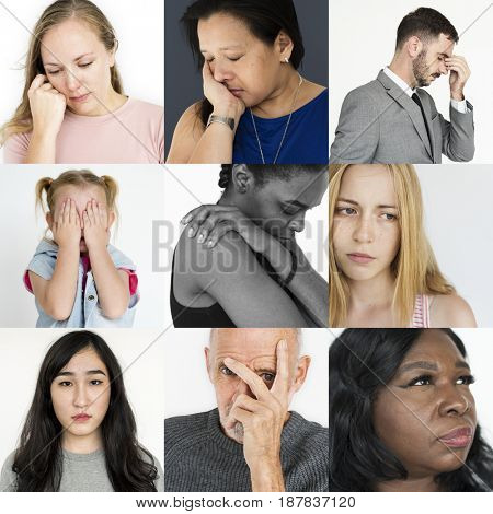 Collage of people face expression worried unhappy