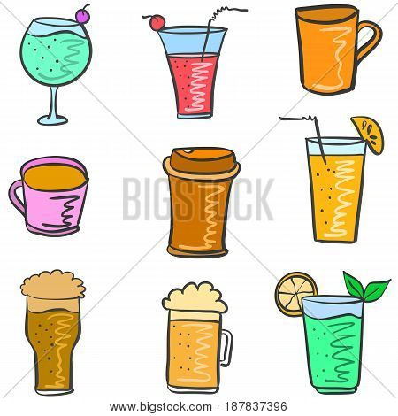 Illustration drink various doodle set collection stock