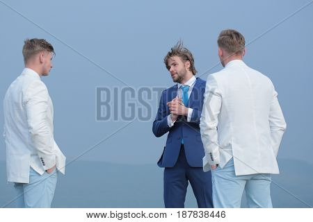 Business Fashion, Young People In White And Blue Outfit, Marketing