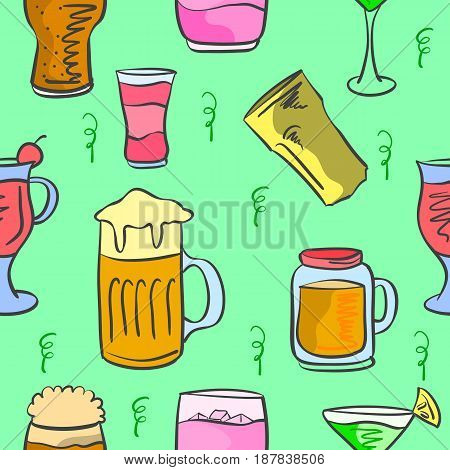 Vector art drink pattern style collection stock