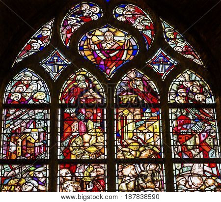 DELFT, NETHERLANDS - APRIL 1, 2017 Jesus Christ Stained Glass New Cathedral Nieuwe Kerk Delft Netherlands Holland Netherlands. Church built in 1300s burial place of the Royal Family.