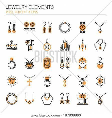 Jewelry Elements Thin Line and Pixel Perfect Icons