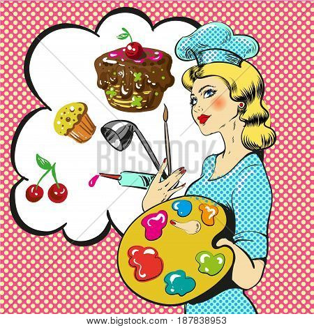 Vector illustration of professional confectioner female decorating pastry, thought bubble. Baking and pastry arts design element in retro pop art comic style.