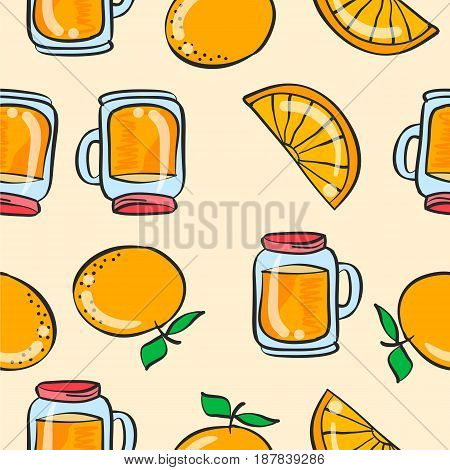 Doodle orange drink theme vector art collection stock