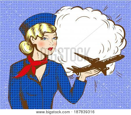 Vector illustration of beautiful woman holding airplane on her hand. Stewardess in retro pop art comic style.