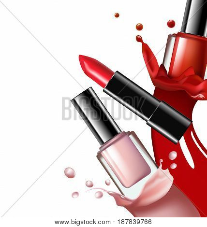 Colorful nail lacquer nail polish splatterand red lipstick on white background 3d illustration vogue ads for design Cosmetics and fashion background Template Vector.