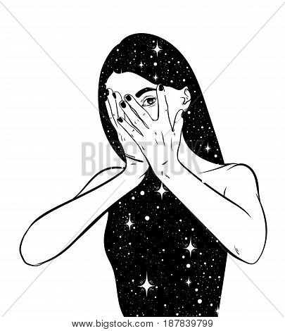 Vector hand drawn surreal illustration of woman with space instead of body . Surreal tattoo artwork . Template for card poster banner print for t-shirt.