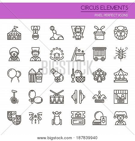 Circus Elements , Thin Line and Pixel Perfect Icons