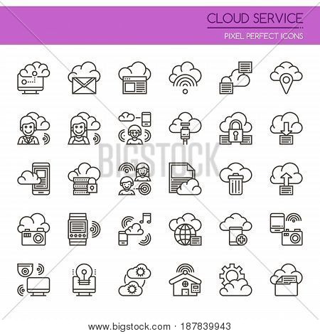 Cloud Service , Thin Line and Pixel Perfect Icons