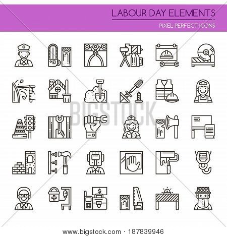 Labour day Elements , Thin Line and Pixel Perfect Icons