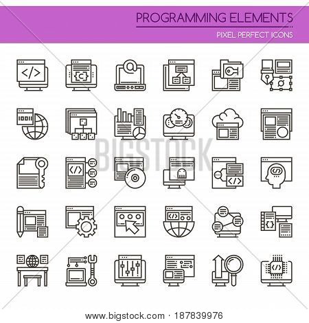 Programming Elements , Thin Line and Pixel Perfect Icons