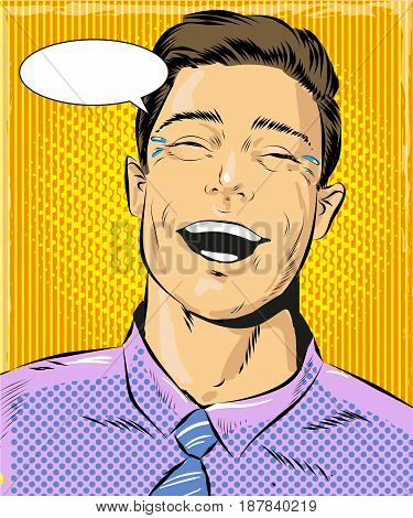 Vector illustration of laughing man, speech bubble. Happy face, positive emotion in retro pop art comic style.