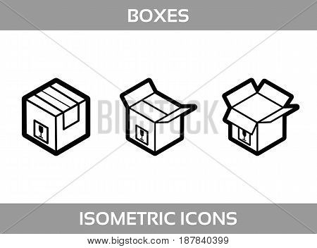 Simple Set ofIsometric packaging boxes Vector Line artIcons. Black and white line art isometric icons with thick strokes. Cardboard boxes