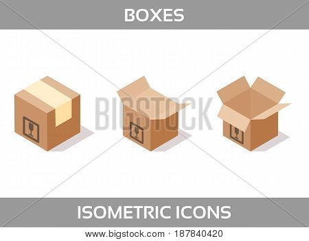Simple Set ofIsometric packaging boxes Vector 3DIcons. Color isometric icons without strokes. Cardboard boxes