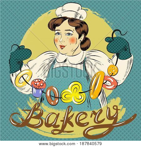 Vector illustration of woman with bundle of bagel and other pastry. Bakery concept, retro pop art comic style.