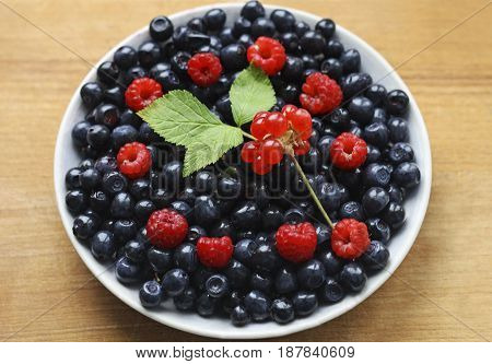 Plate with berries on a wooden surface. Raspberries and blueberries lying on a white plate. For raspberries and blueberries is a sprig of forest bramble.