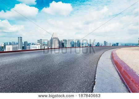 cityscape of nanjing from empty road