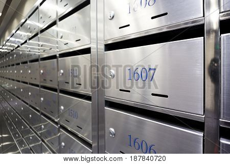 closeup of steel letterbox