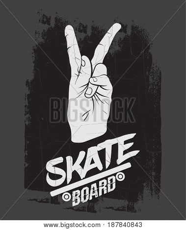Quote typographical background about skateboard in minimalistic style with grunge vintage fonts. Hand drawn illustration of