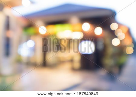 Abstract blurred image restaurant and coffee shop with bokeh for background