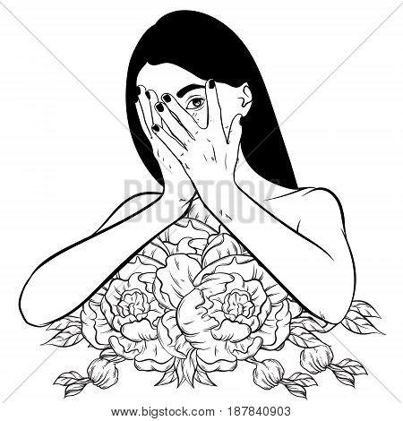 Vector hand drawn illustration of ashamed girl with flowers instead body. Creative surrealistic artwork. Tattoo art. Template for card poster banner print for t-shirt.
